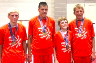left to right:  Garrett Sturtz (Newton), Zaine Leedom (Grinnell), Brevin Hansen (Grinnell) and Jesse Van Wyk (Sully)