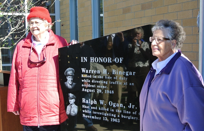 Mary Ellen Lynch and Lois Ogan, widows of fallen officers Warren H. Binegar and Ralph W. Ogan.