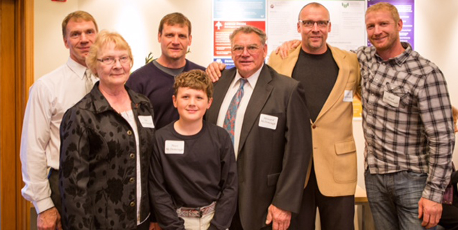Pictured: Honoree Howard McDonough with wife Sue and their four sons Brian McDonough, Scott McDonough, Kyle McDonough and Brad McDonough plus grandson Max McDonough