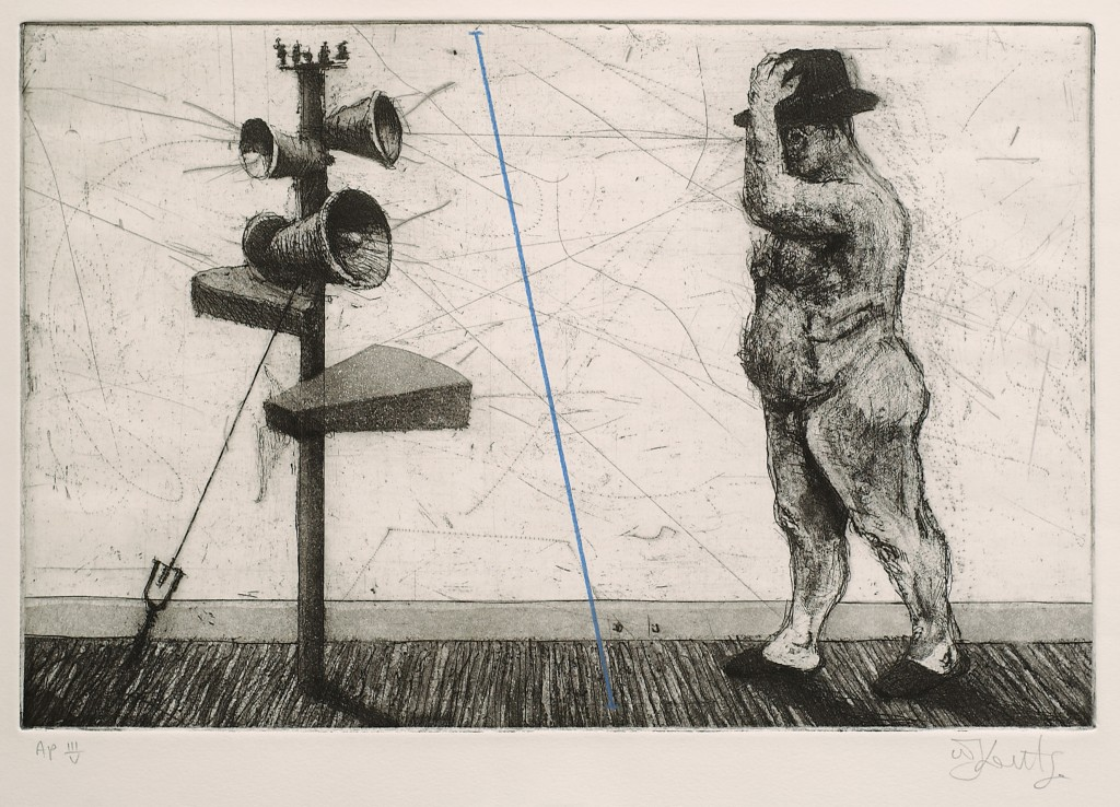 "William Kentridge, ""Man with Megaphone Cluster,"" 1998. Etching and aquatint with handcoloring. Collection of John L. and Roslyn Bakst Goldman."