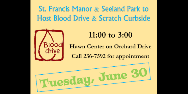 St. Francis Manor Hosting Blood Drive and Scratch Cupcakery Curbside on June 30th