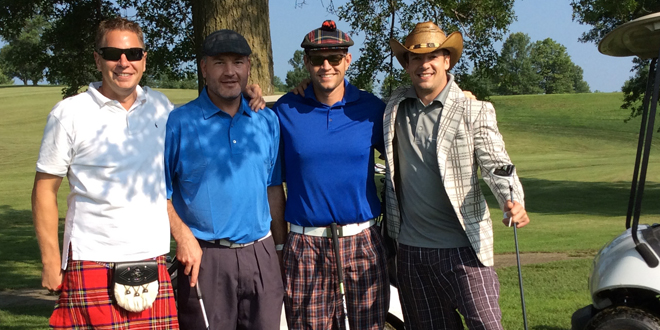 "Winners of the attire contest were Scott Collings, OD, for Best Dressed; and Jarrod Phelps, for Most ""Fun"" Dressed, shown with their team members Dr. Kuiper and Shane Hart."