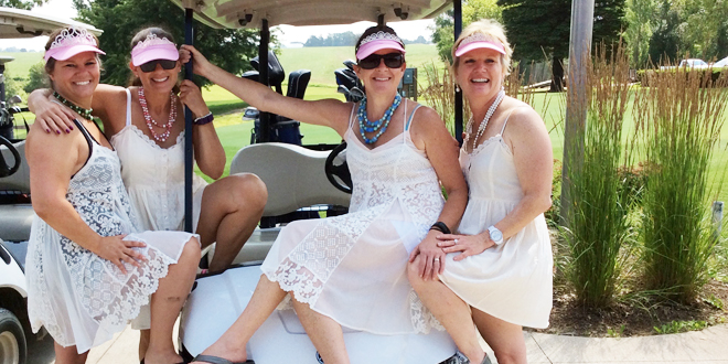 Special mention was giving to several golfers during the 2015 GRMC Golf Outing. One team earning recognition is the Solera Wine team of Sara Cox, Colleen Klainert, Sam Cox, and Karen Richards, all in lace and tiaras.