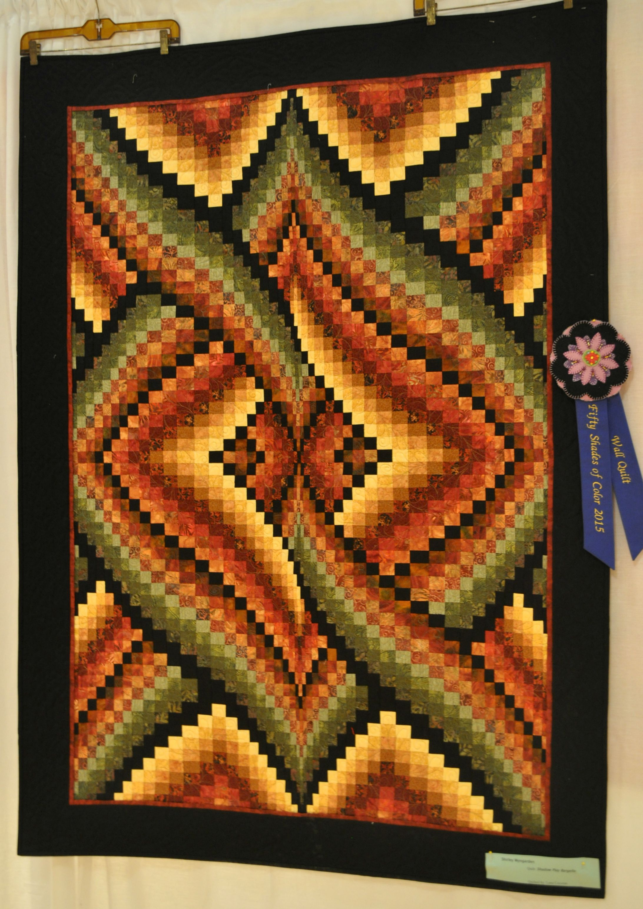 "Shirley Wyngarden's ""Shadow Play Bargello"", winner of both the Wall Quilt category and Viewer's Choice"