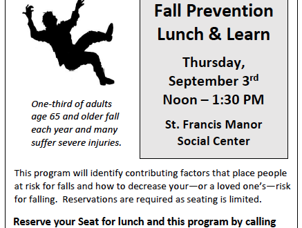 The Rehabilitation Clinic at St. Francis Manor Announces  Three Free Lunch & Learn Educational Sessions