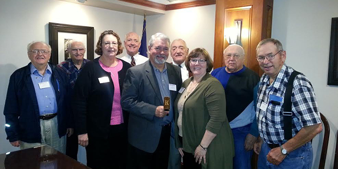 2015-2916 Kiwanis Club of Grinnell officers, front row from left: John Saxton, Mary Stepanek, Jeff Schwarck, Jeanette Budding, and Paul McDonald. Back row, from left: Don Pederson, Rick Bierman, Addison Jones, and Orlan Mitchell. Not shown: Tom Evans and Montie Redenius.