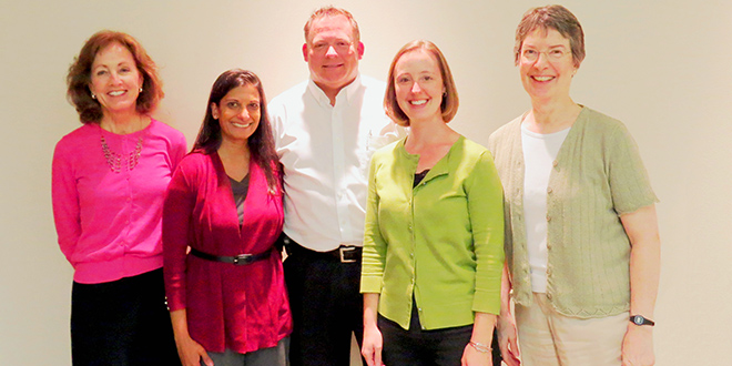 (left to right) Nancy Agnew (Mayflower Foundation), Delphina Baumann (Mayflower Homes, Inc.), Jeff Finch (Mayflower Foundation), Kelly Sandquist (Mayflower Foundation), Emily Moore (Mayflower Foundation)