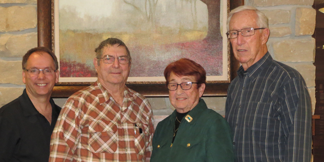 Pictured l - r;  Dion Schrack, St. Francis Manor Executive Administrator; Ken Eggman, Seeland Park resident; Betty Hammond, St. Francis Manor Foundation Board Member; and Bob Terlouw, Seeland Park resident.
