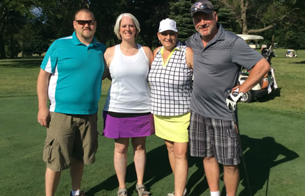 GRMC's golf outing provided the excellent backdrop for friends to enjoy a day of golf with friends. Shown from left: Derrick Sears, Kim Sears, Mary Duke, and James Duke.
