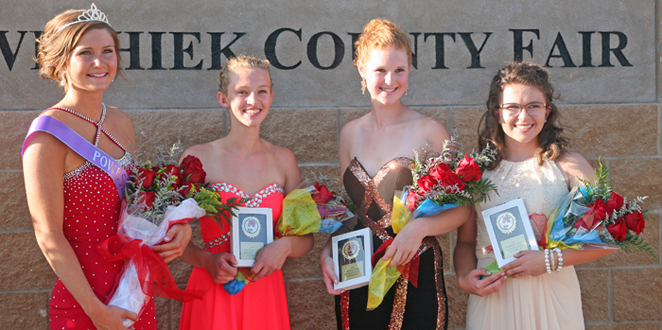 Queen & Runner Ups - Brooke Kuesel, left, the 2016 Poweshiek County Fair Queen, is show with runner ups, from left, Ashley Armstonrg, Montezuma, first runner up; Payton Robison, Hartwick, second runner up; and Rebecca Crawford, Grinnell, third runner up.