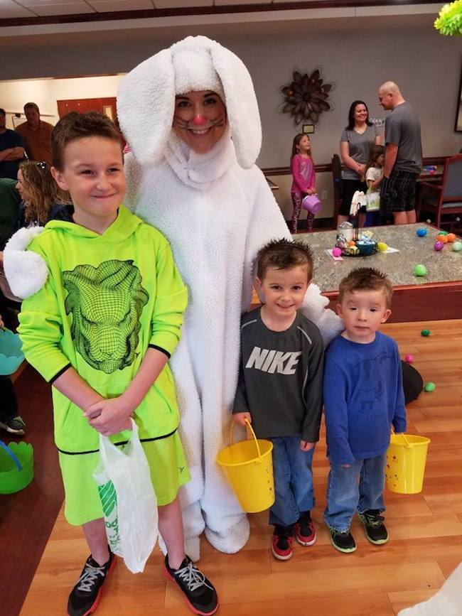 L to R; Children of St. Francis Manor employee Julia Ingle--Ethan, Maddax and Huxley.