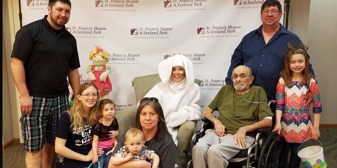 Pictured L-R: Andy Versendaal, Kayla Moyer, Lydia, Cyrus and Lori Versendaal, Easter Bunny, Richard Bortell, Andre and Adriana Versendaal.